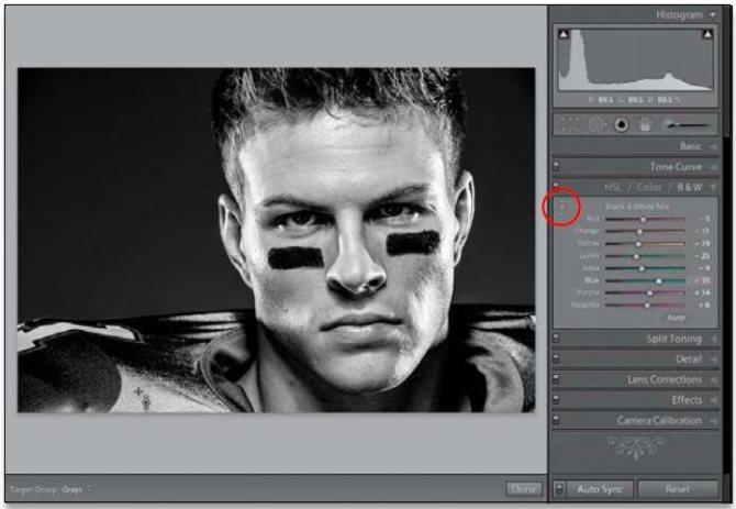 Создание черно-белых изображений в Lightroom